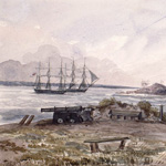 Watercolour of two sailing ships in a bay as seen from outside a house