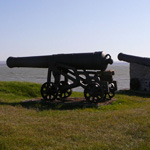 Photograph of two cannons looking out over the shoreline