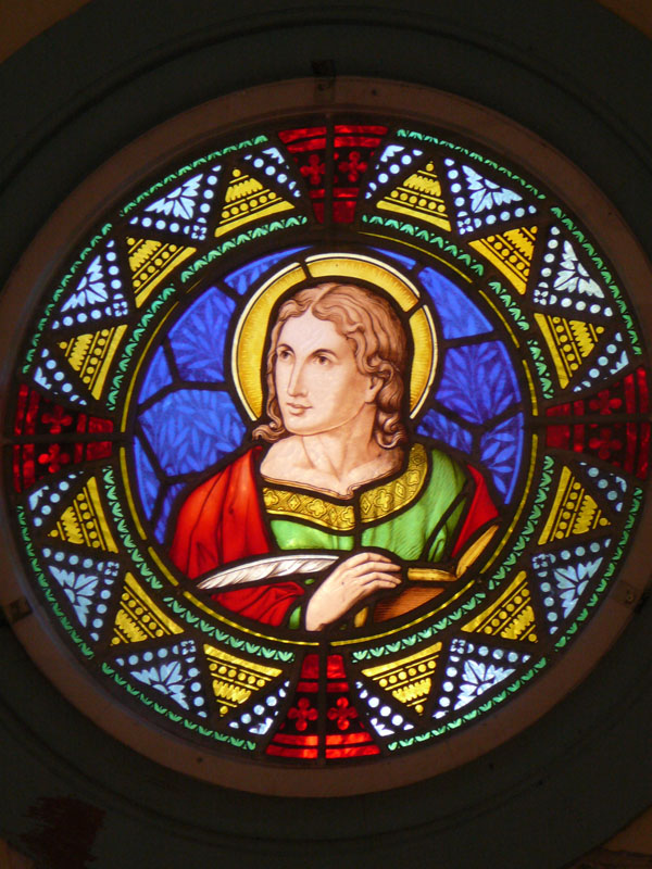 Photograph of a multicolour stained glass window