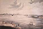 Watercolour painting of the shores of a large body of water.  Tall ships are present, it is a winter landscape.