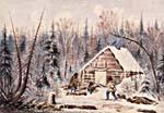 Painting of a log cabin, and its inhabitants, in a wooded area in winter.