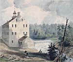 Painting of a mill on the shore of the river near the waterfalls.