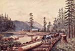 Painting of a lumberjack camp in the woods.  A team of horses is pulling a tree along a road -- the road is constructed from cut trees, placed side by side.