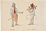 Watercolour of two men in their traditional clothing, on the left is a man wearing blue coat with a leather apron and holding an axe, and on the right is a man wearing a red cap and holding a wooden saw.