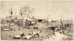 Pencil drawing of a pastoral landscape, including a farmhouse, and barnyard animals.