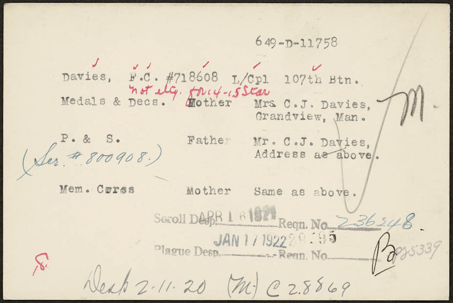 Memorial Cross card for F.C.Davies