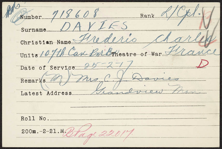 Medal Card for F.C. Davies Reg. No. 718608
