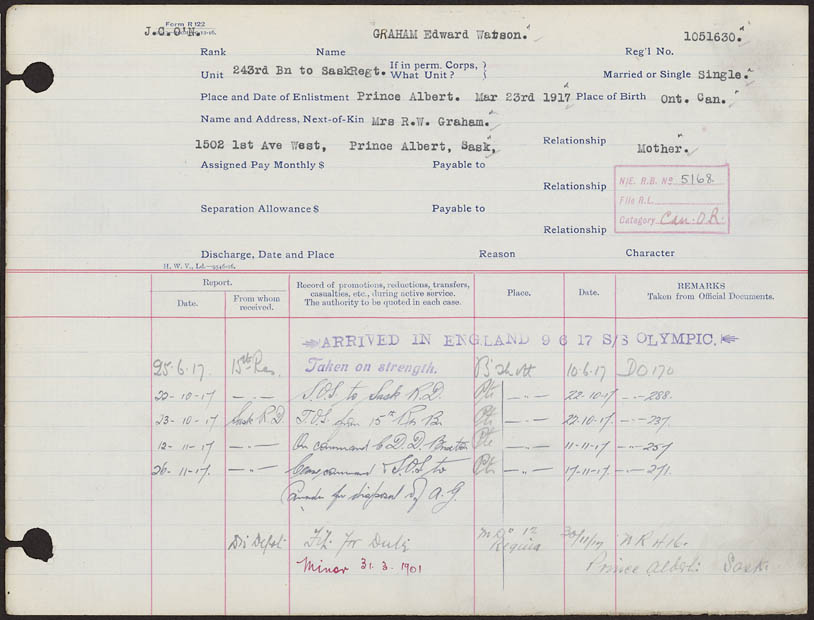Service Record for Graham Edward Watson Reg No. 1051630