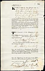 Marriage Bond for John Abbot and Jane Beattie, 16 October 1827. Library and Archives Canada, RG 4 B28, vol. 34, number 725