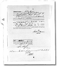 Affidavit of Justine Bercier, 2 October 1876.  Library and Archives Canada, RG 15, Series DII8a, vol. 1319, Reel C-14925