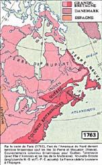 Carte de l'Amèrique du Nord (coté Est) en 1763