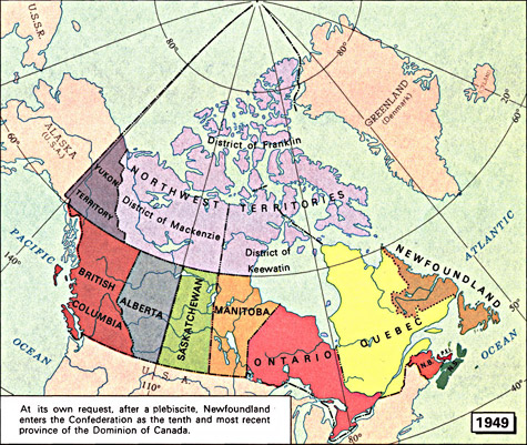 ARCHIVED Map 1949 Maps 16671999 Canadian Confederation
