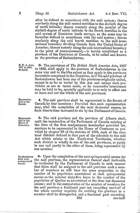 "Document: ""An Act to establish and provide for the government of the Province of Saskatchewan"" (short title: The Saskatchewan Act), Statutes of Canada 1905, c. 42, p. 202."