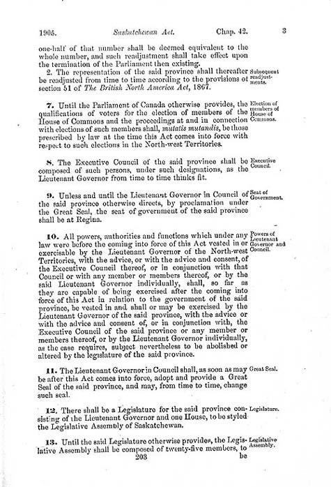 "Document: ""An Act to establish and provide for the government of the Province of Saskatchewan"" (short title: The Saskatchewan Act), Statutes of Canada 1905, c. 42, p. 203."