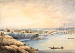 Painting: Songish village opposite Victoria, B.C., before 1863.