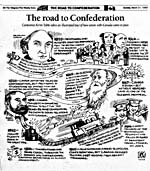 Cartoon: The Road to Confederation by Kevin Tobin in The Telegram, March 21, 1999, p.20