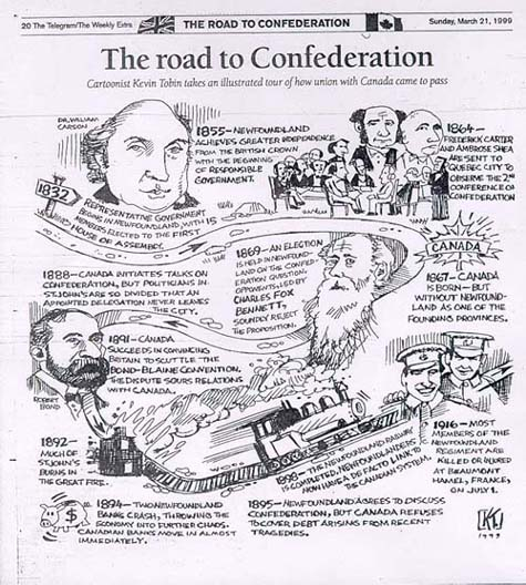 Cartoon by Kevin Tobin: The Road to Confederation, The Telegram, March 21, 1999, p. 20.