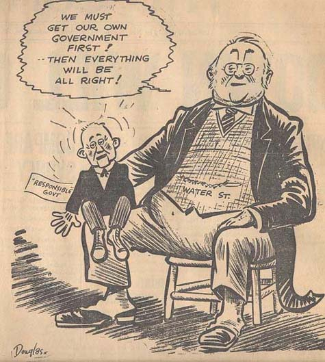 Caricature: the merchants and responsible government,  The Confederate, April 21, 1948.