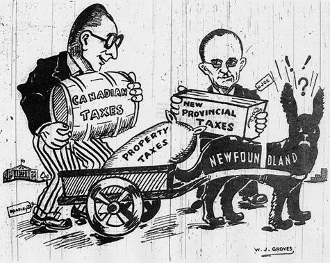 Caricature: Taxes Under Confederation, The Independent, April 5, 1948.