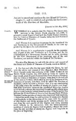 Document: An Act to amend and continue the Act 32 and 33 Victoria, chapter 3; and to establish and provide for the Government of the Province of Manitoba