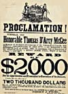 Wanted poster for the assassin of the Hon. Thomas D'Arcy McGee