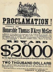 Avis de recherche pour l'assassin de l'honorable Thomas D'Arcy McGee