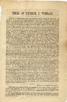 Première page de TRIAL OF PATRICK J. WHELAN FOR THE MURDER OF THE HON. THOS. D'ARCY MCGEE..., reportagede George Spaight pour l'OTTAWA TIMES, Ottawa, Desbarats, 1868