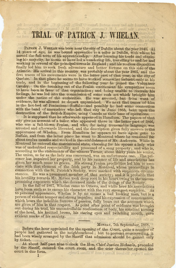 First page of transcript of the TRIAL OF PATRICK J. WHELAN FOR THE MURDER OF THE HON. THOS. D'ARCY MCGEE..., reported by George Spaight for the OTTAWA TIMES. Ottawa: Desbarats, 1868