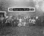Photograph of members of the Ottawa Blind Association, 1917, under a banner reading SIGHT THRU WORK