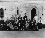 Photograph of a group of politicians near the Parliament Buildings, circa 1888