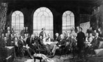 Photo prise par James Ashfield montrant une reproduction du tableau FATHERS OF CONFEDERATION, peint par Robert Harris en 1885