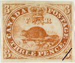 Beaver stamp, designed by Sandford Fleming and issued on April 23, 1851