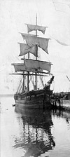 Photograph of a ship drying its sails at Pictou, Nova Scotia, 1909