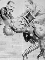 "Political cartoon ""We Can't Undo the Lock, Sir John Is On Guard; Hand It Over the Fence?"" commenting on the National Policy and Canadian - American relations, by an unknown artist, 1891"