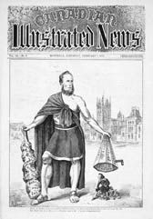 Political cartoon from the CANADIAN ILLUSTRATED NEWS depicting Alexander�Mackenzie and Sir�John�A.�Macdonald and commenting on corruption in Canadian politics, by G.�Gascard, February�7,�1874