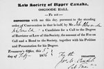 Receipt for application to the Law Society of Upper Canada issued to John A. Macdonald, February 5, 1836