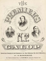 "Sheet music of song ""The Premier's N. P. Galop,"" by A. Koerber"