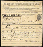 Telegram to Prime Minister John�A.�Macdonald from William�Cornelius�Van�Horne announcing the completion of the Canadian Pacific Railway with the driving of the last spike at Craigellachie, a small hamlet in the Selkirk Mountains, November�7,�1885
