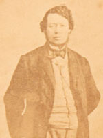 Cabinet card photograph with two sides: one with a photograph of Thomas D'Arcy McGee and the other with his signature
