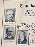Diamond Jubilee commemorative advertisement for Ruberoid Building Products Ltd., with images of George Brown, Sir Wilfrid Laurier, Sir�John�A.�Macdonald, Sir George-Étienne Cartier, William Lyon Mackenzie King, and Sir Charles Tupper, 1927