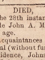 Newspaper death notice for Isabella Macdonald, 1857