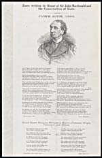 Broadside entitled LINES WRITTEN IN HONOR OF SIR�JOHN�MACDONALD AND THE CONSERVATIVES OF ESSEX, by John�MaGuire, signed at Leamington, Ontario, June�20,�1882