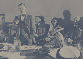 Photograph of Lester B. Pearson addressing a committee at the United Nations Conference on International Organization in San Francisco, 1945