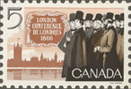 Design for a 1965 postage stamp commemorating the London Conference of 1866, depicting Fathers of Confederation who participated in drafting the BRITISH NORTH AMERICA  ACT, 1867