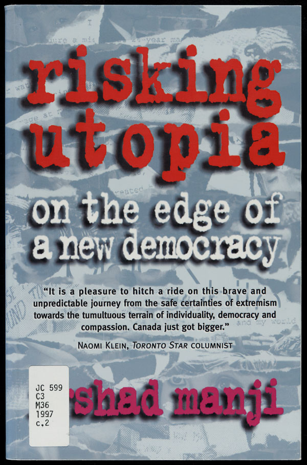 Couverture du livre de Irshad Manji intitulé RISKING UTOPIA: ON THE EDGE OF A NEW DEMOCRACY, 1997