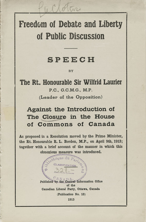Cover of a speech by Sir Wilfrid Laurier entitled FREEDOM OF DEBATE AND LIBERTY OF PUBLIC DISCUSSION, 1913