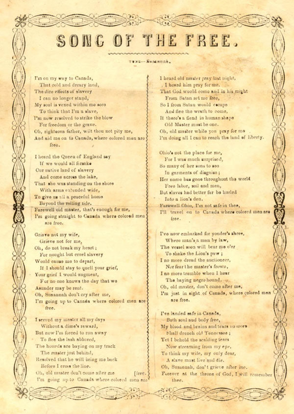 Page of lyrics to SONG OF THE FREE, a song in eight verses describing a slave fleeing to Canada, circa 1860