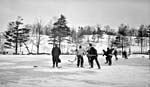 Photo montrant des gens en train de jouer au hockey au parc High, à Toronto, en 1914