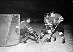 Photograph of hockey players during a game between Canada and Czechoslovakia