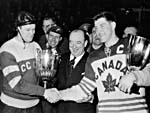 J. F. Ahearne congratulating the captains of the finalist teams at the 1955 world championships